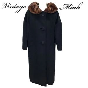 Vintage Mink Collar Black Cashmere Blend Coat LG